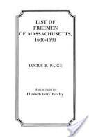 List of Freemen of Massachusetts, 1630-1691