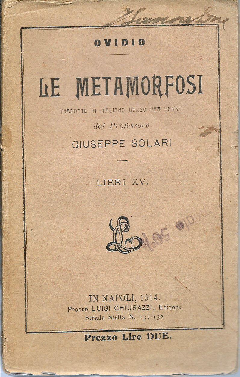 Le Metamorfosi Libri XV