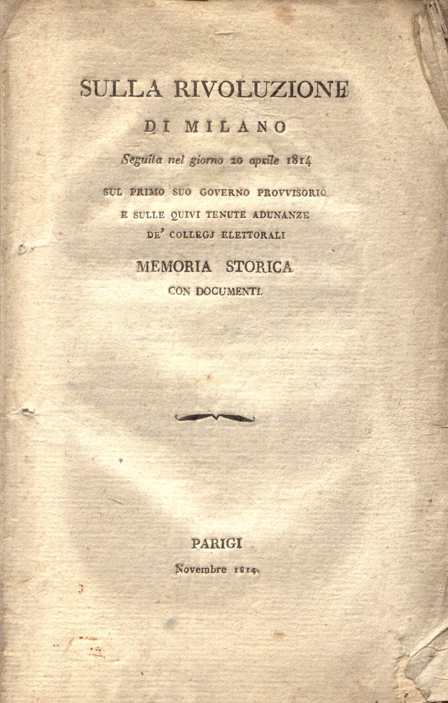 Sulla rivoluzione di Milano seguita nel giorno 20 aprile 1814