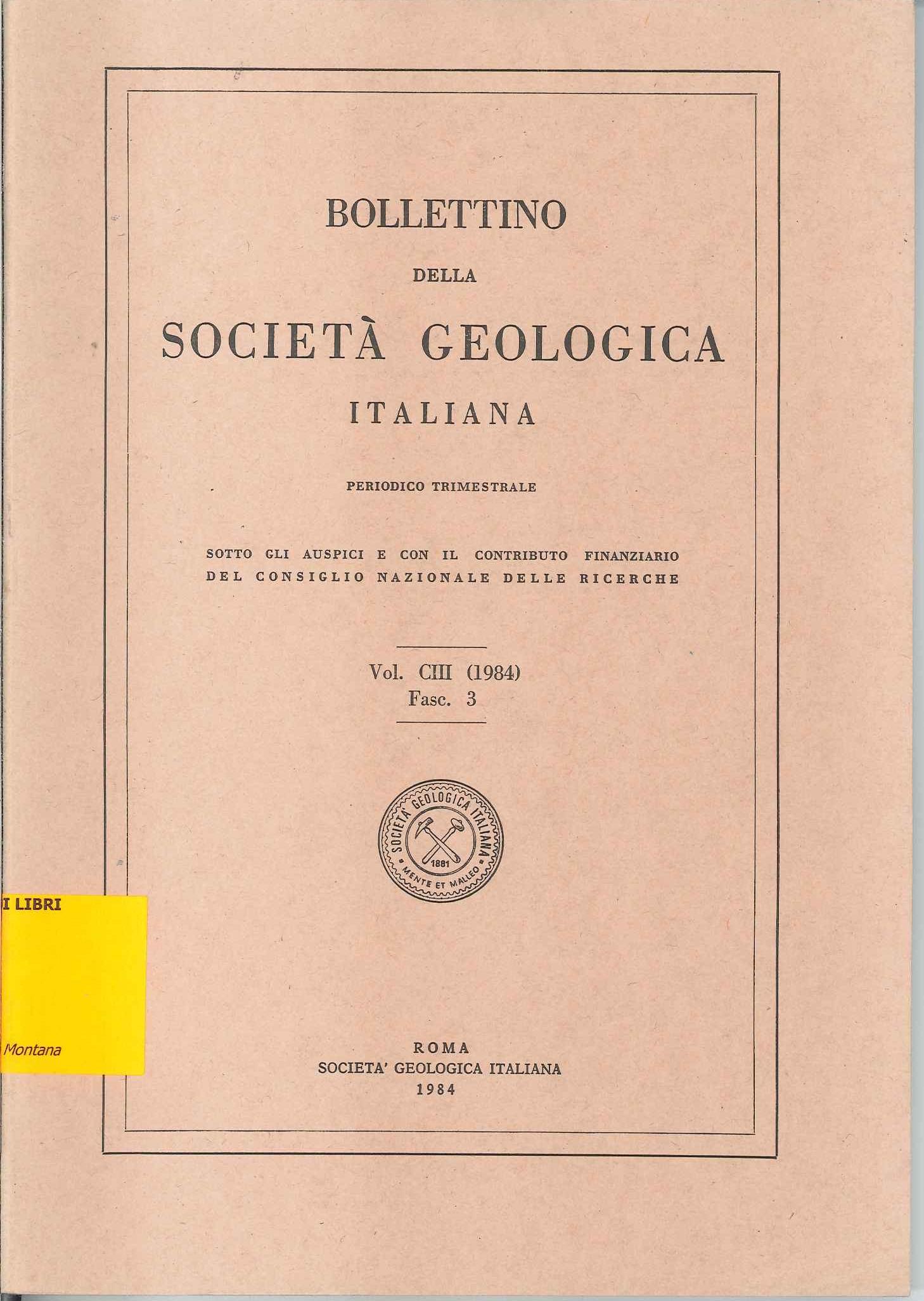 Bollettino della Società Geologica Italiana Vol. CIII Fasc. 3