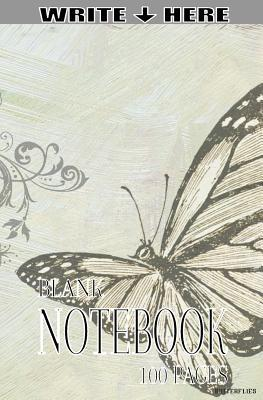 Write Here 100 Page Blank Notebook Butterflies Collection
