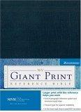 NIV Holy Bible Giant Print Reference Edition, Navy Leather-Look
