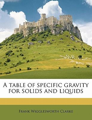 A Table of Specific Gravity for Solids and Liquids
