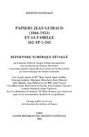 Papiers Jean Guiraud (1866-1953) et sa famille