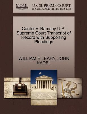 Canter V. Ramsey U.S. Supreme Court Transcript of Record with Supporting Pleadings