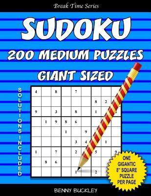 """Sudoku 200 Medium Puzzles Giant Sized. One Gigantic 8"""" Square Puzzle Per Page. Solutions Included"""