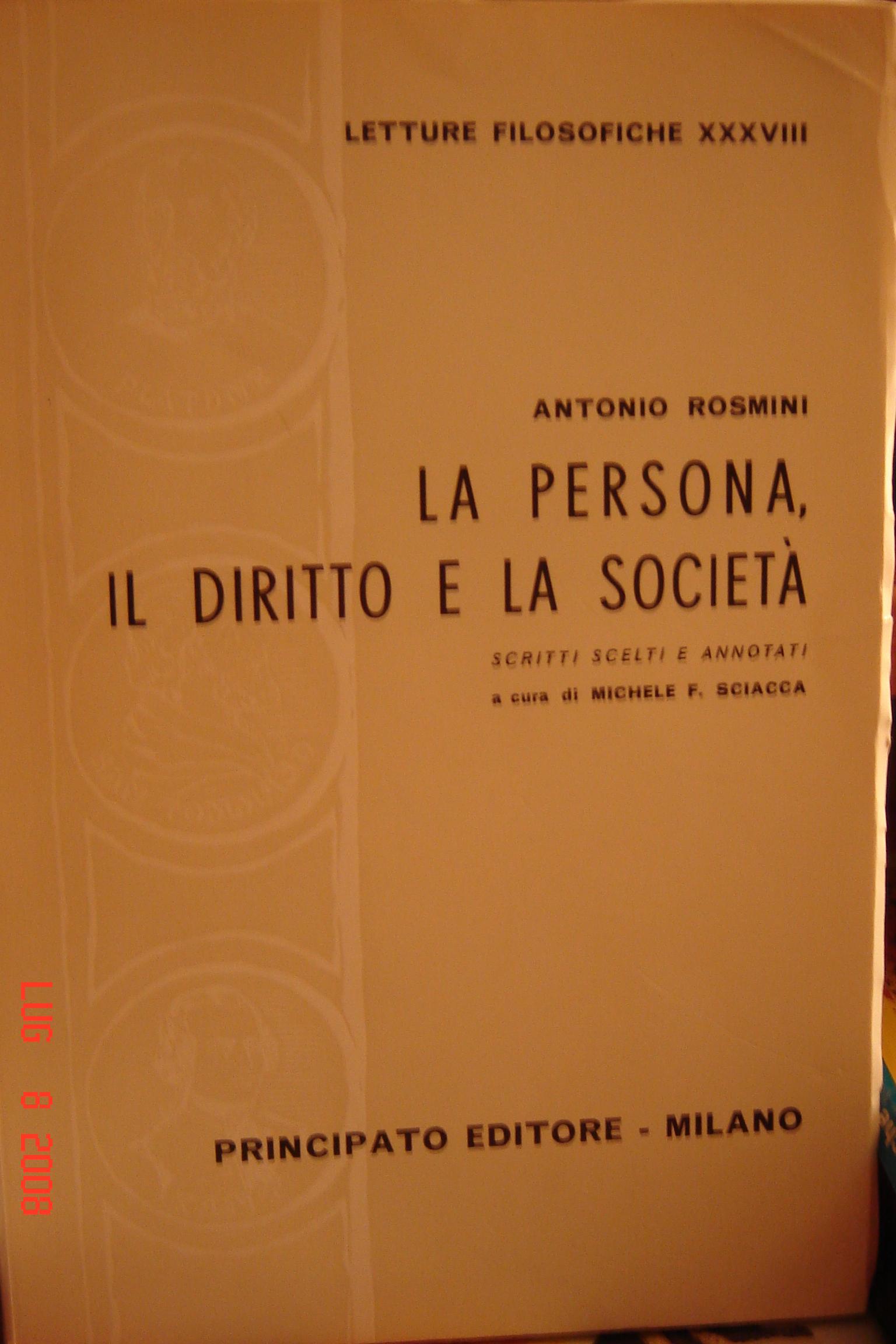 La persona, il diritto e la società