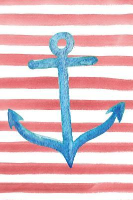 Blue Anchor Red Watercolor Stripe Journal