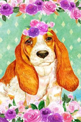 Journal Notebook For Dog Lovers Basset Hound In Flowers 2