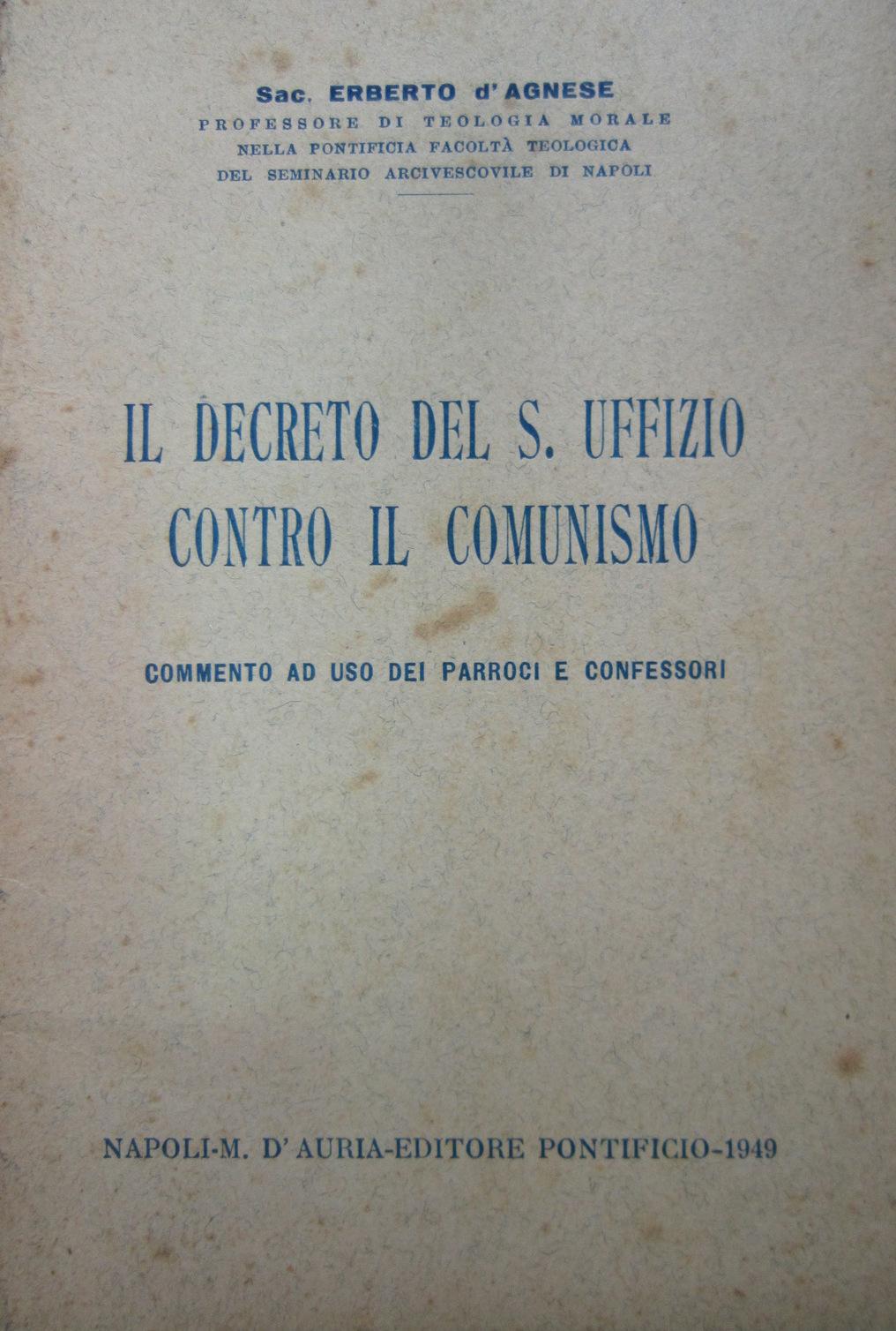 Il decreto del S. Uffizio contro il comunismo