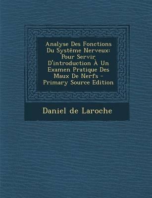 Analyse Des Fonctions Du Systeme Nerveux