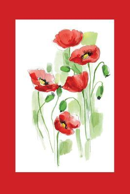 Red Watercolor Flowers With Frame Graph Journal