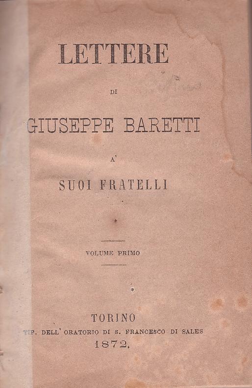 Lettere di Giuseppe Baretti a' suoi fratelli