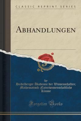 Abhandlungen (Classic Reprint)