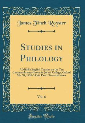 Studies in Philology, Vol. 6