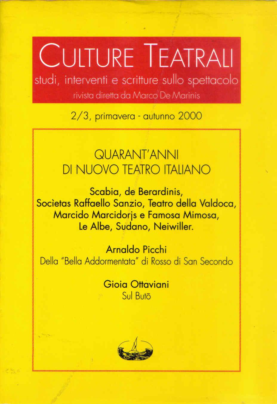 Culture teatrali 2/3 (primavera-autunno 2000)