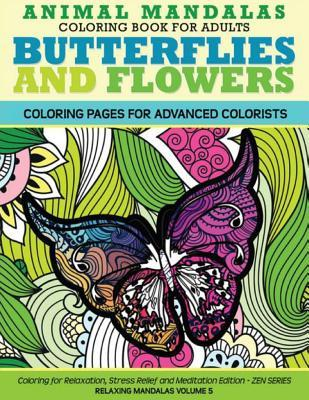 Animal Mandala Coloring Book for Adults Butterflies and Flowers Coloring Page