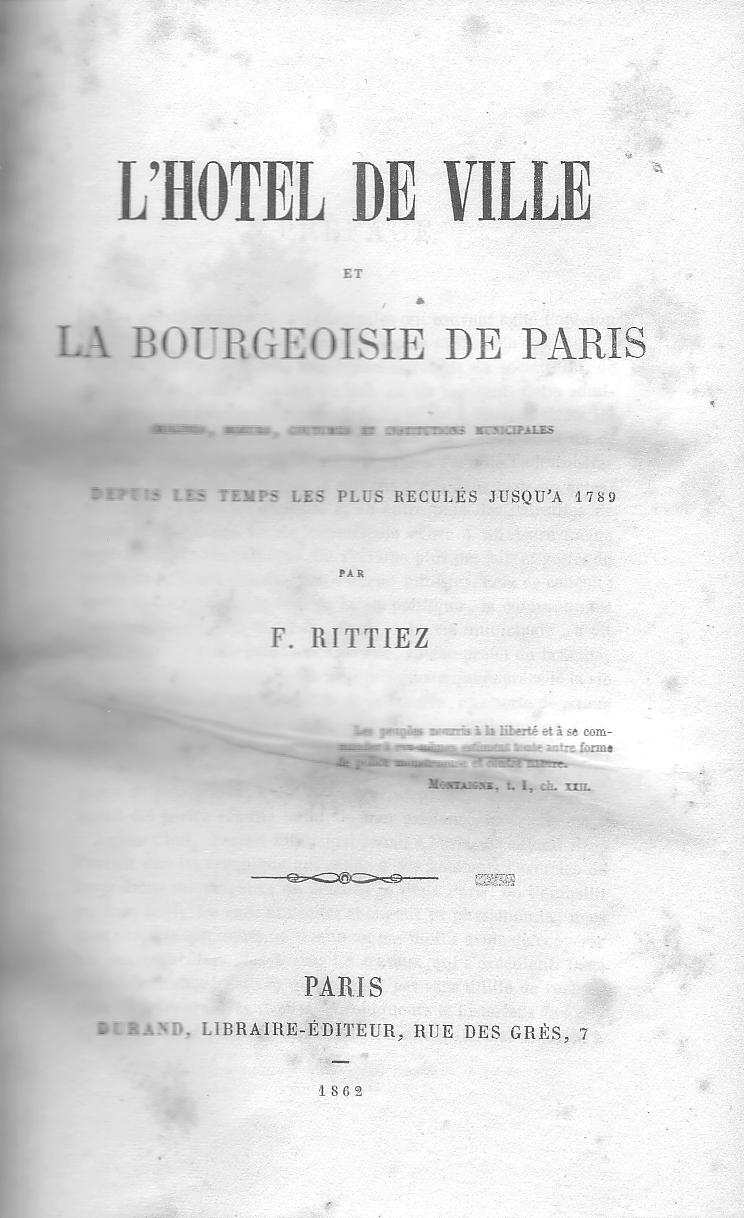 L'Hôtel de ville et la bourgeoisie de Paris