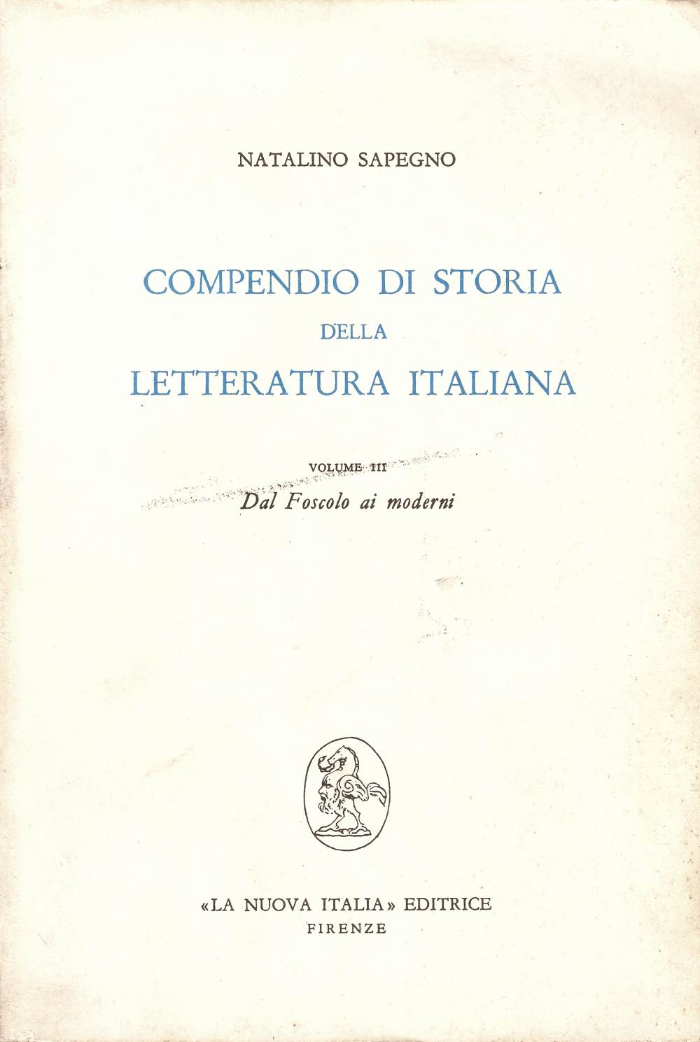 Compendio di storia della letteratura italiana Vol. 3°
