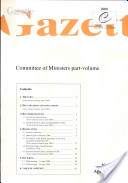 Gazette Committee of Ministers April 2000, No. IV / 2000
