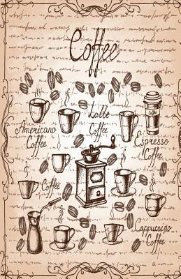 Antique Vintage Poster Coffee Line Dooddles Pink Cover