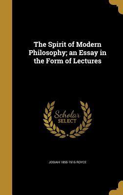 SPIRIT OF MODERN PHILOSOPHY AN