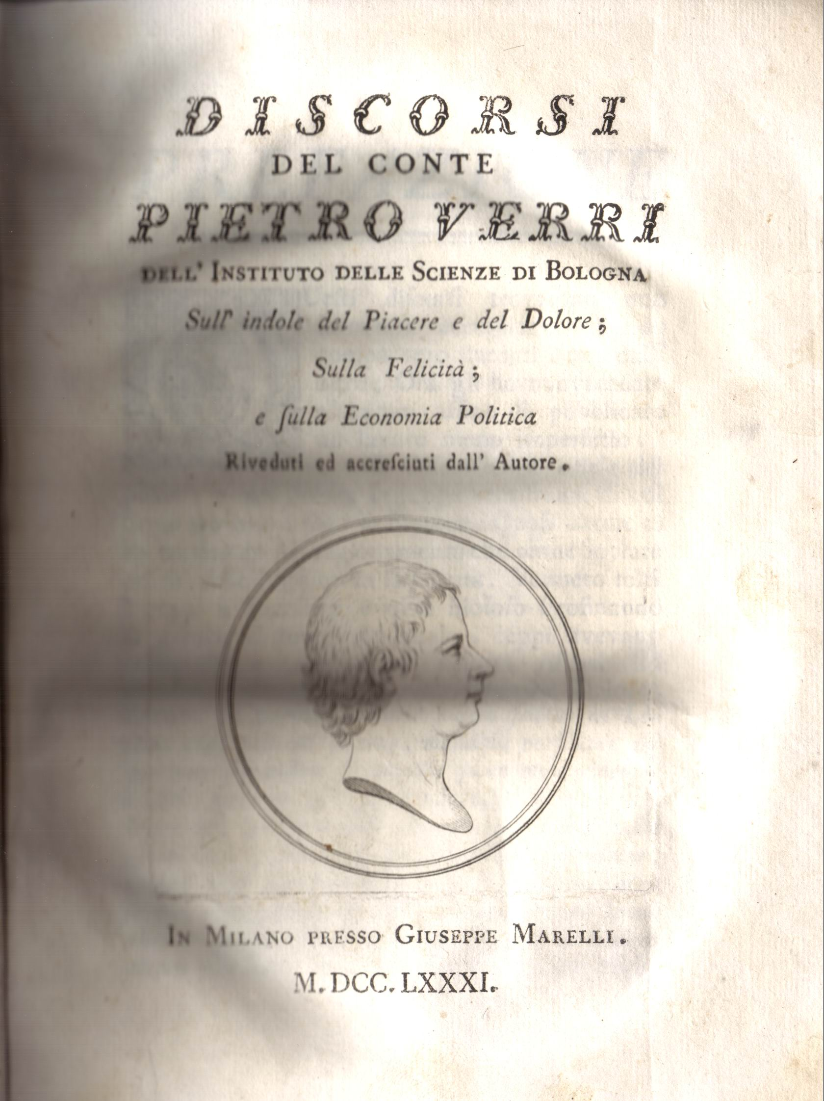 Discorsi del conte Pietro Verri dell'Istituto delle scienze di Bologna