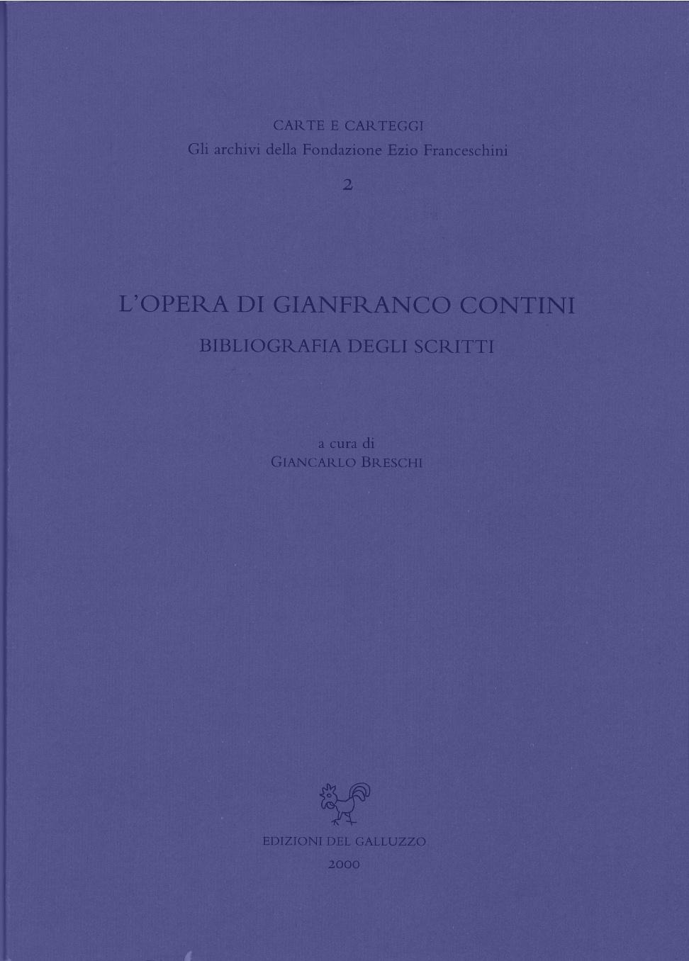 L' opera di Gianfranco Contini