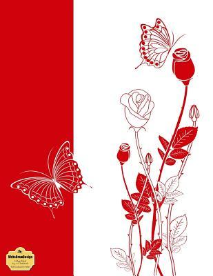 "WriteDrawDesign College Ruled 8.5 x 11"" Notebook, Red Rosebuds On White"