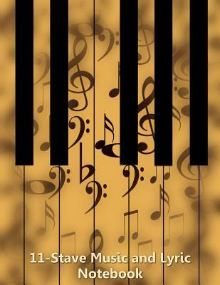 11-Stave Music and Lyric Notebook - Tan Piano Keyboard