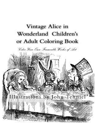 Vintage Alice in Wonderland Children's or Adult Coloring Book