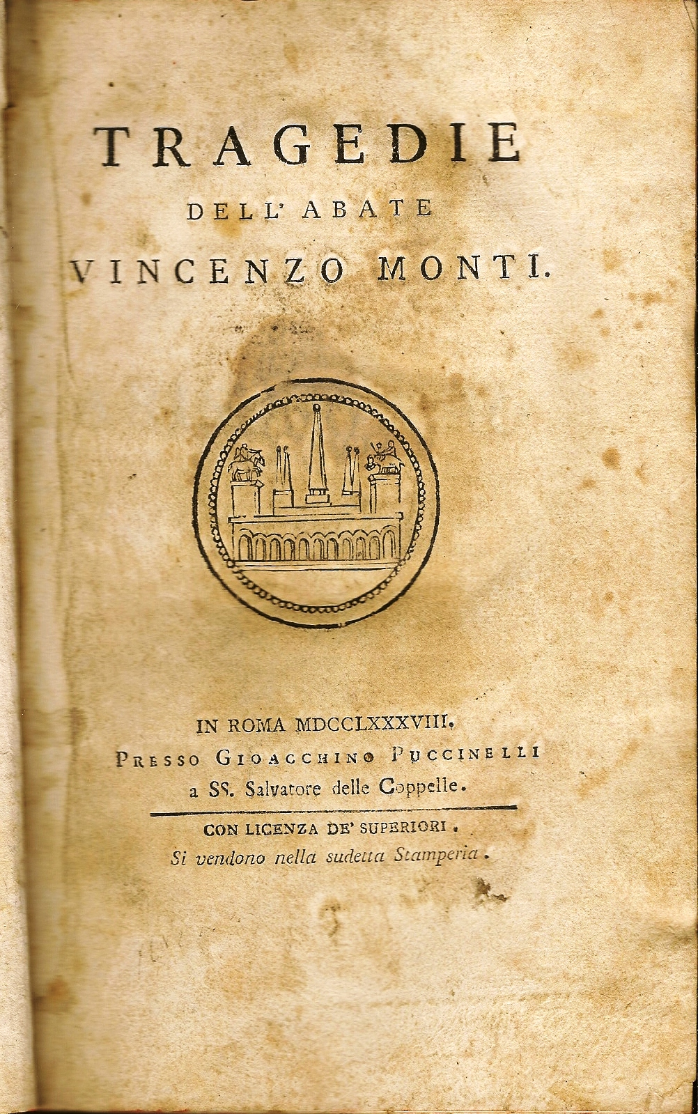 Tragedie dell'abate Vincenzo Monti
