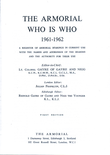 The armorial who is who 1961-1962