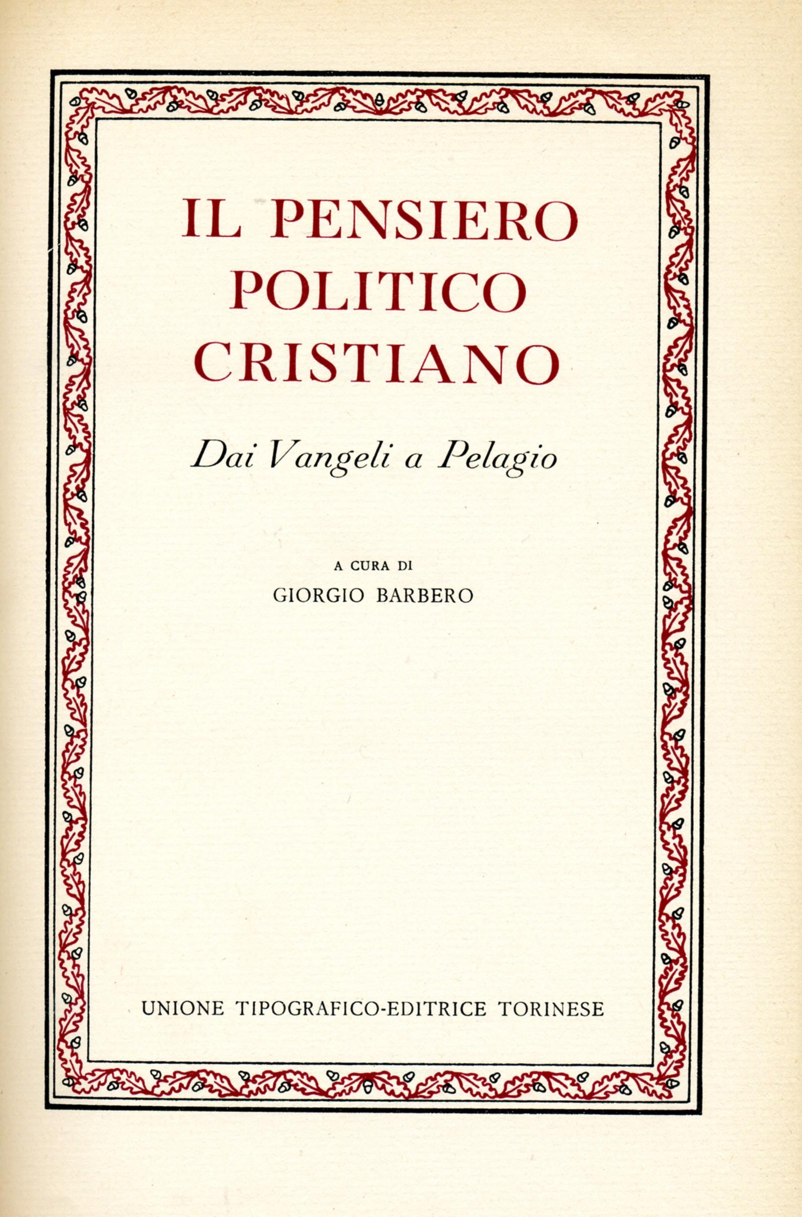 Il pensiero politico cristiano