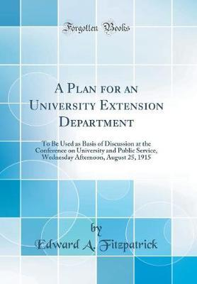A Plan for an University Extension Department