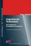 Linguistische Textanalyse. Eine Einführung in Grundbegriffe und Methoden.