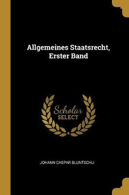 Allgemeines Staatsrecht, Erster Band