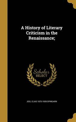 HIST OF LITERARY CRITICISM IN
