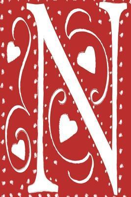 Monogram Journal Letter N Hearts Love Red White