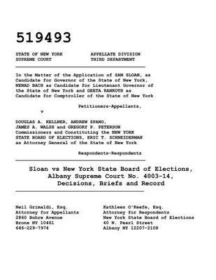 Sloan vs New York State Board of Elections, Albany Supreme Court No. 4003-14