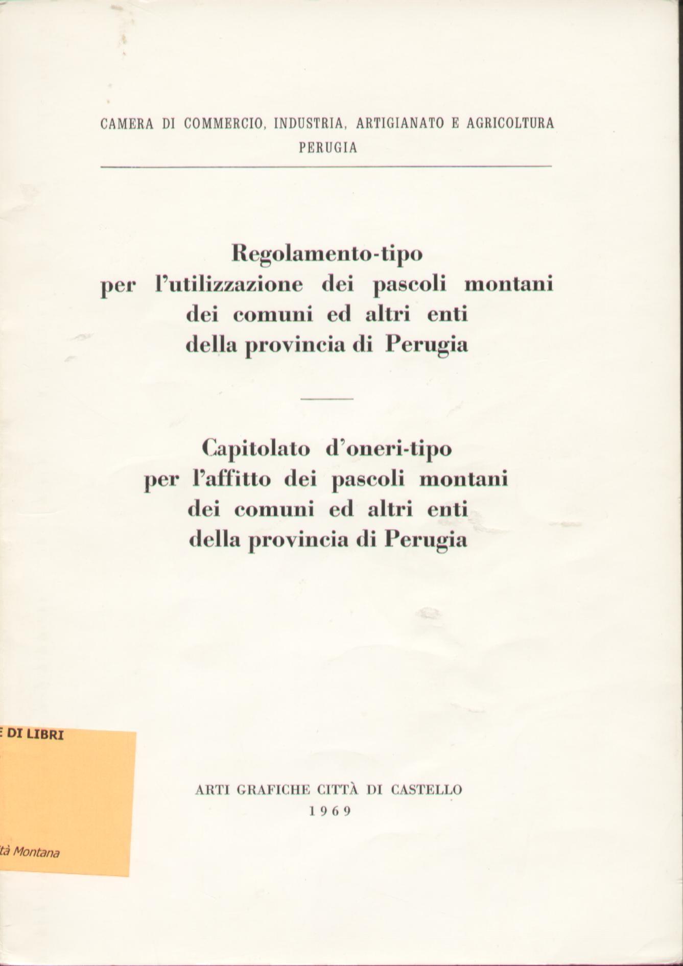Regolamento-tipo per l'utilizzazione dei pascoli montani dei comuni ed altri enti della provincia di Perugia
