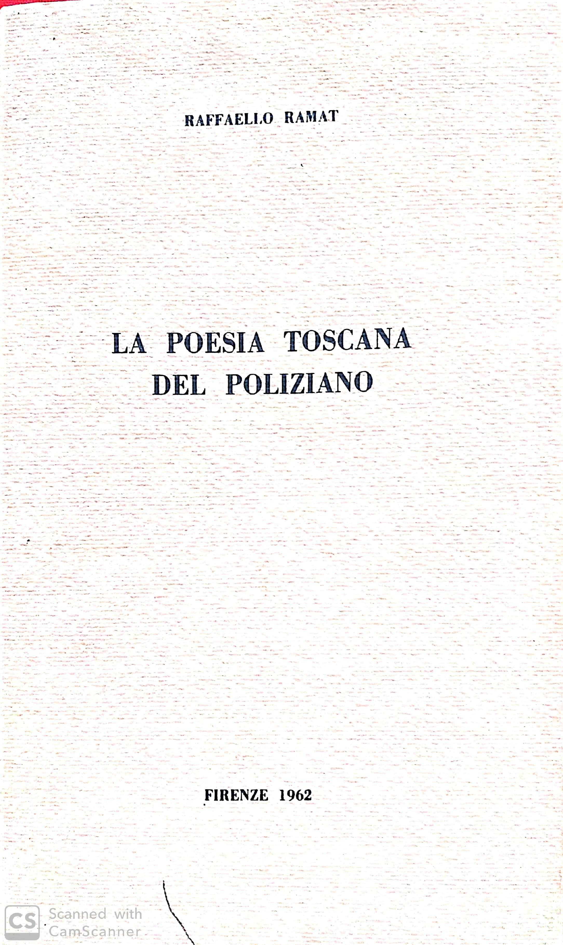 La poesia toscana del Poliziano