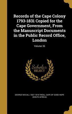 RECORDS OF THE CAPE ...