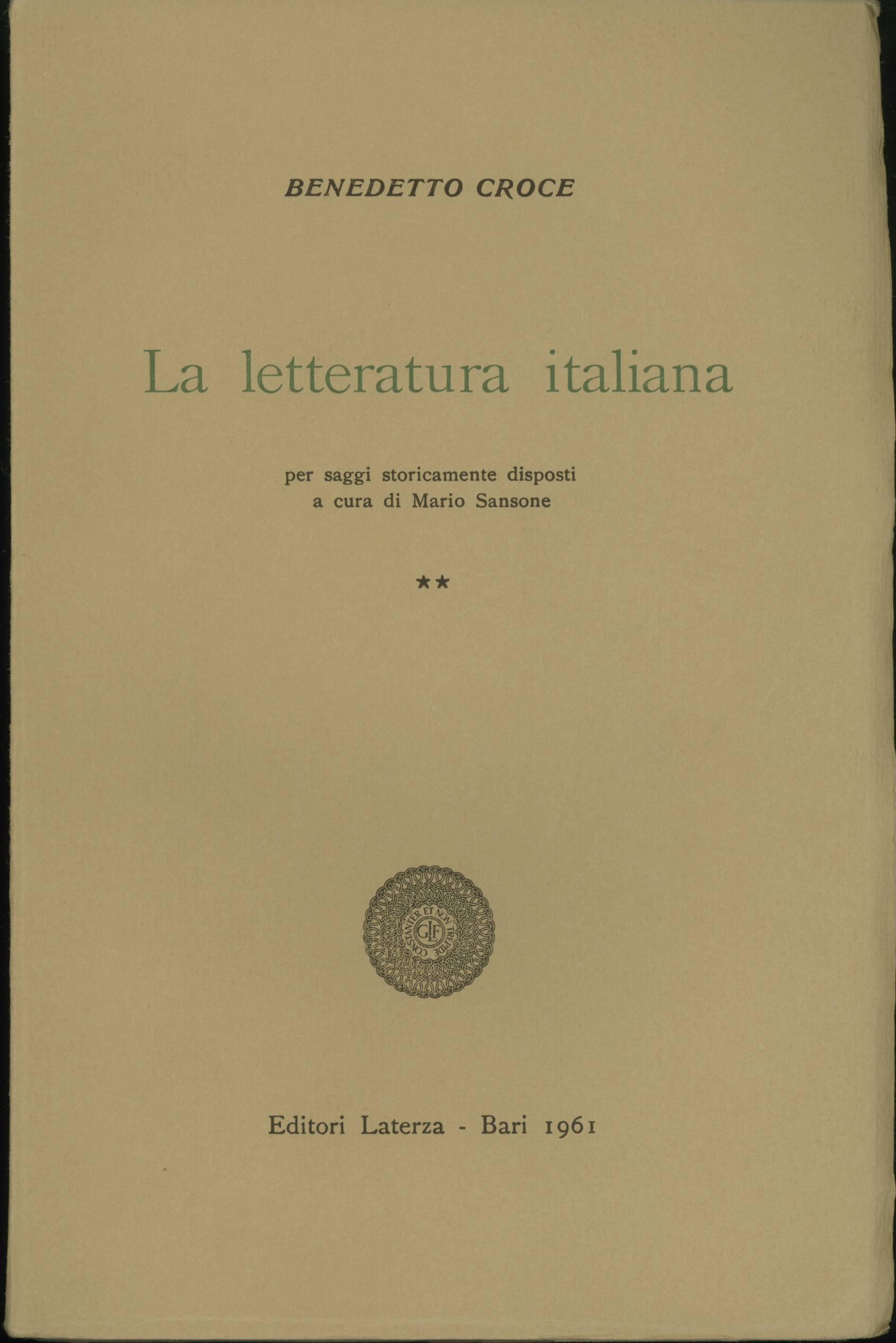 La Letteratura italiana per saggi storicamente disposti - II