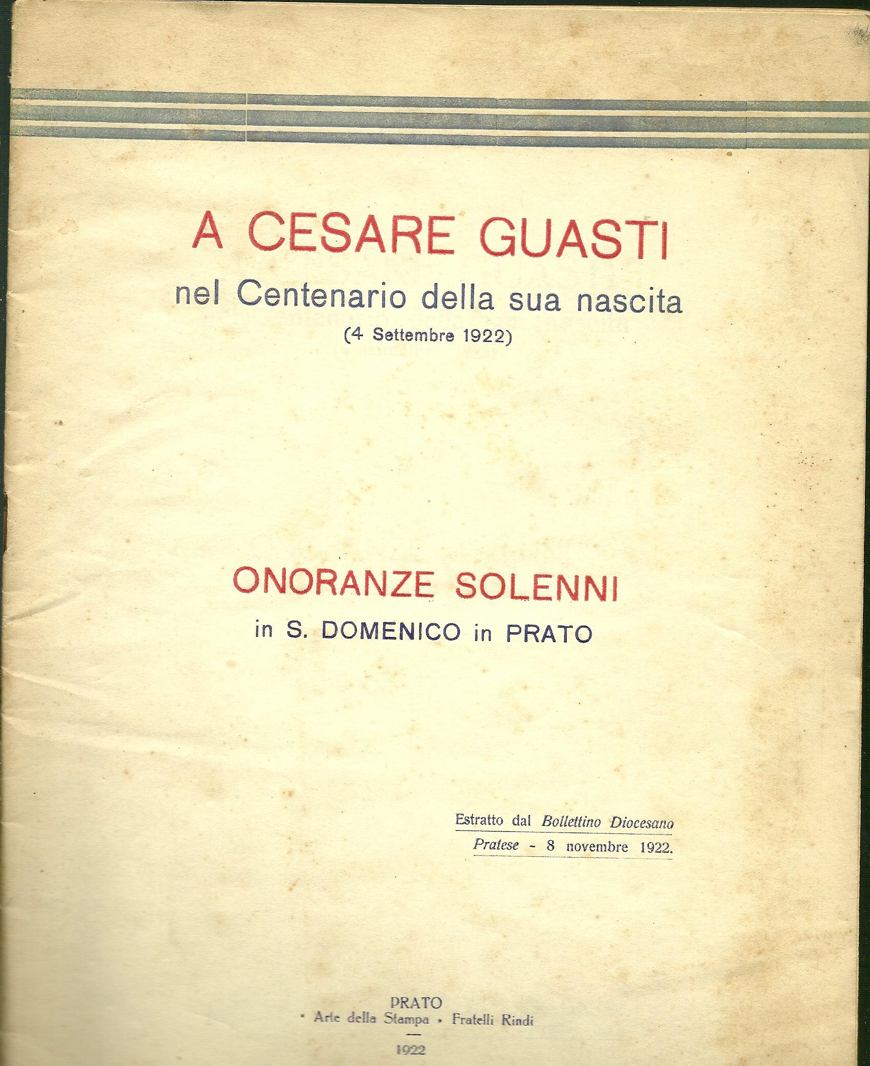 A Cesare Guasti nel centenario della sua nascita (4 settembre 1922)