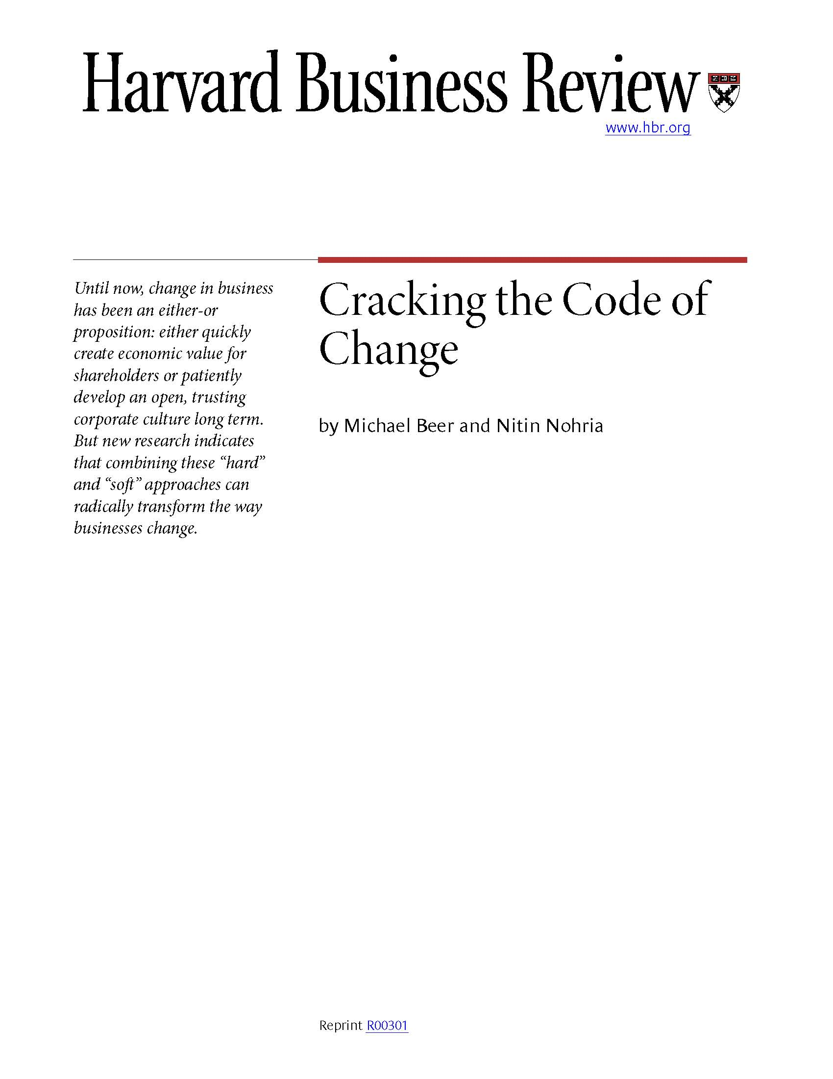 Cracking the Code of Change