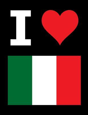 I Love Italy - 100 Page Blank Notebook - Unlined White Paper, Black Cover
