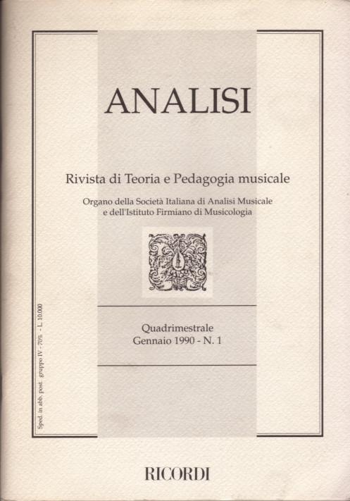 Analisi. Rivista di teoria e pedagogia musicale - A. 1 n. 1 (1990)
