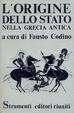Cover of L'origine dello stato nella Grecia antica