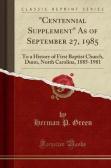 """""""Centennial Supplement"""" As of September 27, 1985"""